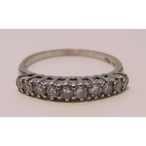 37 - Half Eternity 18ct white gold ring with 10 diamonds,  2.3 grams gross...