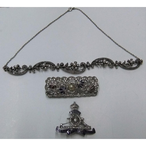38 - Good collection of 3 pieces of early/mid 20thC costume jewellery consisting of a small ladies neckla...