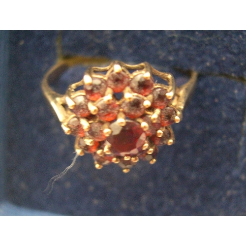 39 - 2 9ct gold dress rings, 1 sapphire & opal the other a garnet cluster ring  approx 3.7 grams gross...