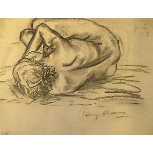 573 - Manner of Henry Moore, crayon, back of female nude, bears signature, unframed  33 x 15 cm...