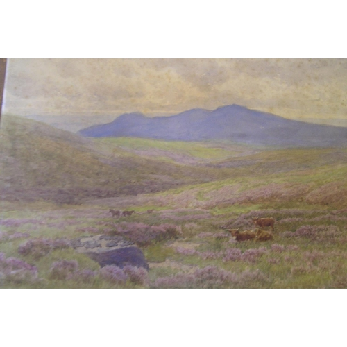 701 - 2 unframed, unsigned c1900 watercolours, cattle in landscapes  Both approx 32 x 42 cm...