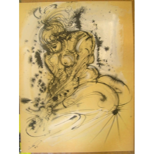 579 - 3 Hendrick Grise (USA 1917-1982) watercolours, 1 abstract & 2 females  Ave approx size 70 x 50 cm.  ...