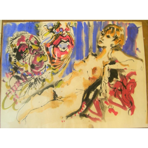 581 - 3 Hendrick Grise (USA 1917-1982) watercolours, 1 abstract & 2 females  Ave size is approx 64 x 38 cm...