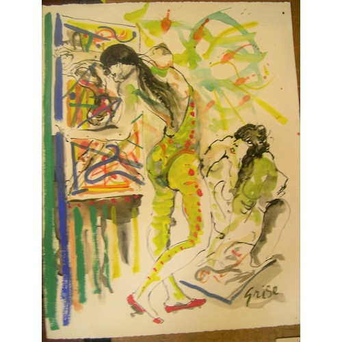 704 - 3 Hendrick Grise (USA 1917-1982) watercolours, 2 female studies & 1 abstract  All are approx 66 x 50...