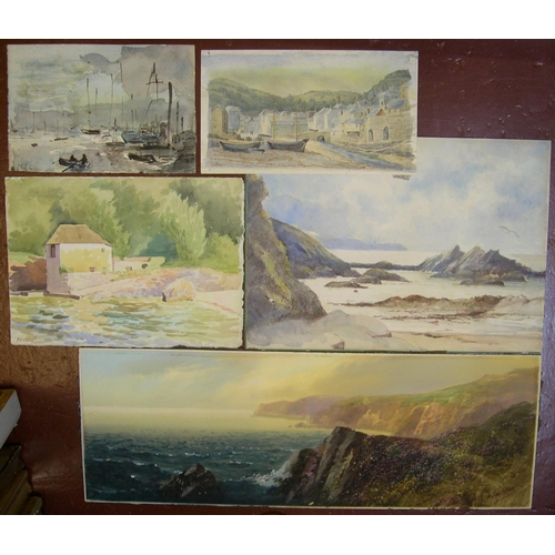 862 - 5 early 20thC coastal scene w/c's including an example by John Shapland (1865-1929), all unframed  l...