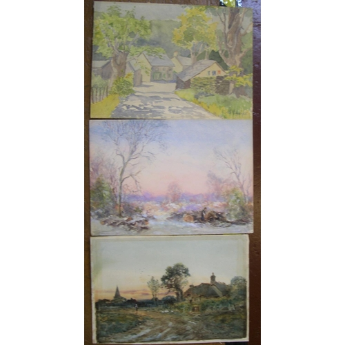 865 - 3 good Edwardian watercolours by 3 different artists, all unframed  all measure approx 28 x 37 cm  C...