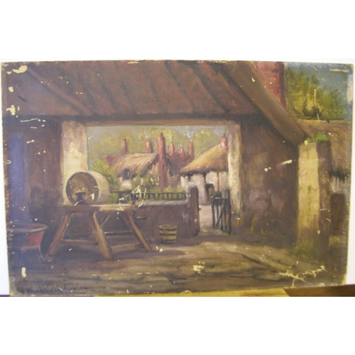 867 - 5 items including a w/c & oil by Henry Hadfield Cubley (1858-1934), 2 other oils and a print of Moor...