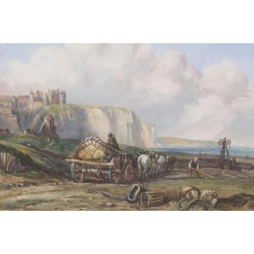 716 - After Clarkson Stanfield, watercolour, coastal scene, (the original entitled Dieppe) bears signature...