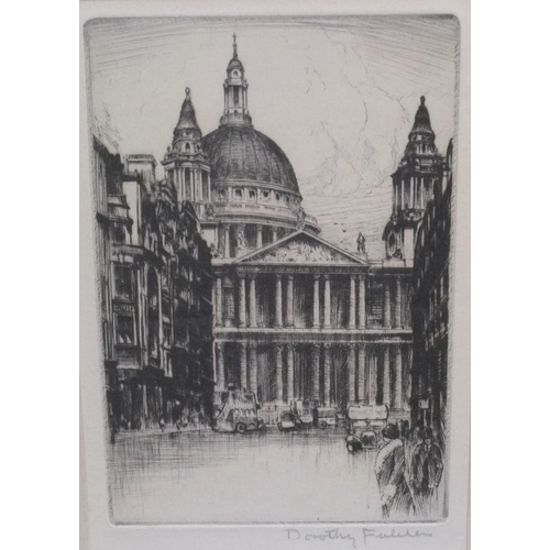 773 - George Oyston 1915 watercolour & Dorothy Fulcher etching St Pauls Cathedral & another unsigned water...