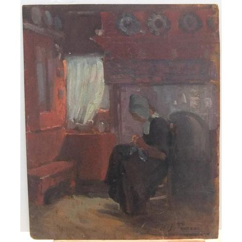 652 - Double sided, Harry John PEARSON (1872-1933) Dutch scene oil on board, unframed but signed.  41 x 33...