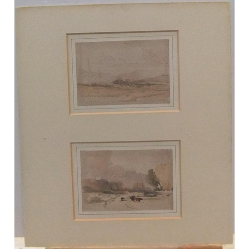 760 - Circle of J M W Turner (1775-1851) pair of unsigned watercolour sketches, both mounted but unframed ...