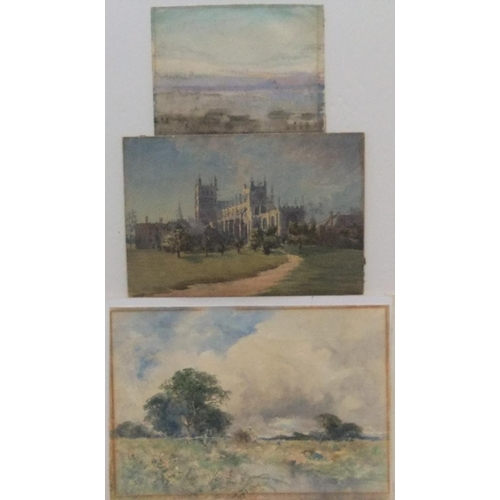 764 - Harry Woods (1864-1929) Harvesting scene watercolour, and 2 others by different artists, all unframe...