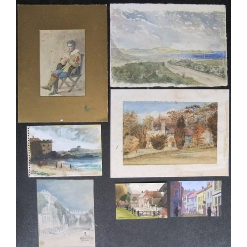 766 - 7 various 20thC watercolours by different artists, all unframed  Different sizes  Generally all in g...