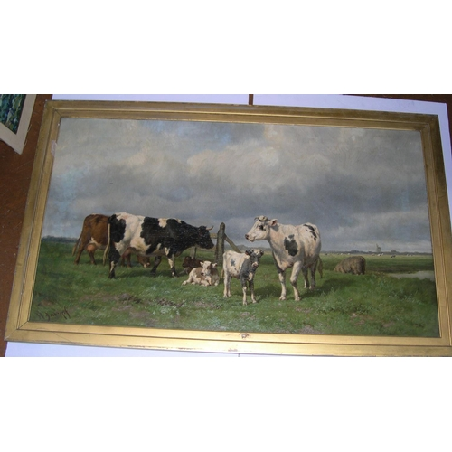 717 - Large, indistinctly signed Dutch school oil
