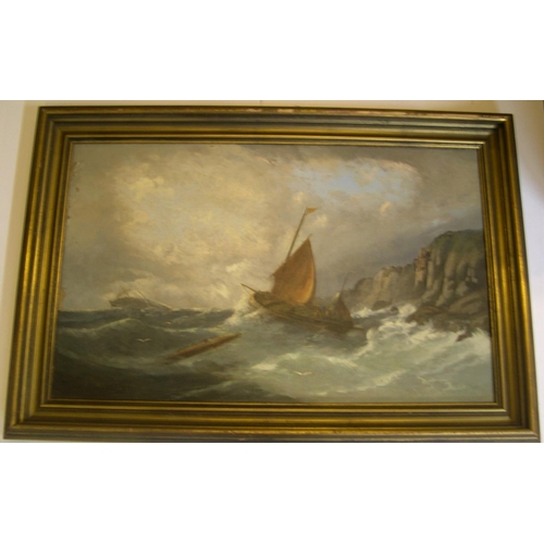 718 - Unsigned, large, late 19thC seascape oil on canvas, in good wood frame  Approx 50 x 75 cm  Generally...