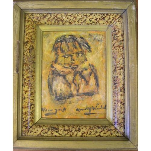 719 - Modern school, small oil portrait of a boy, bears signature A WARHOL, framed  Approx 16 x 12 cm...