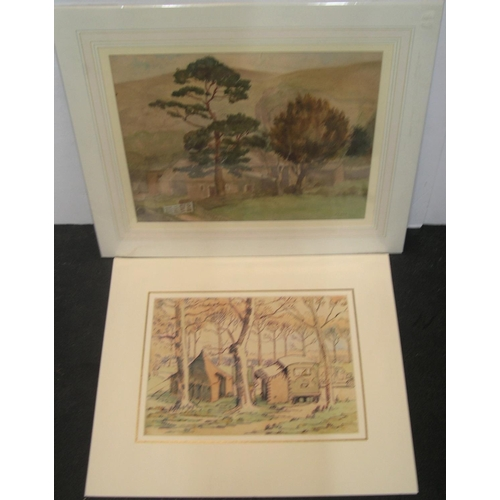 721 - 2 early 20thC watercolours, 1 signed Platt 1939, both mounted but unframed  The average size being 3...