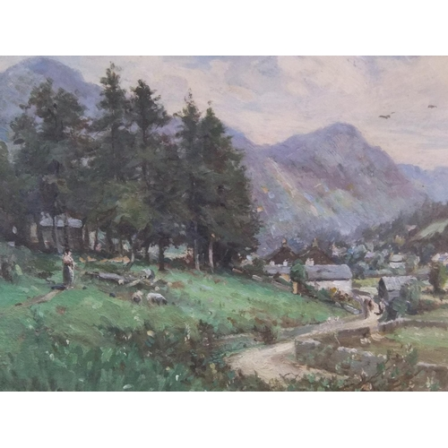 723 - Unsigned Edwardian landscape oil on canvas, framed,  26 x 35 cm  Fine, without problems, looks like ...