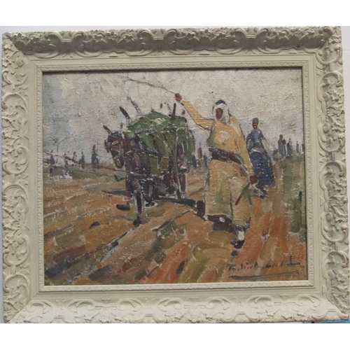 858 - Indistinctly signed impressionist oil on canvas,