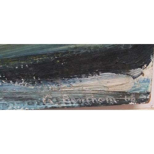 861 - 3 British modern oil on boards, 1 indistinctly signed and dated 1968, all unframed  31 x 92cm, 62 x ...