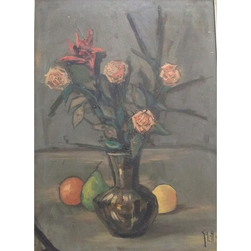 731 - Large mid 20thC still-life oil on canvas, manner of George Leslie HUNTER (1877-1931), bears initials...