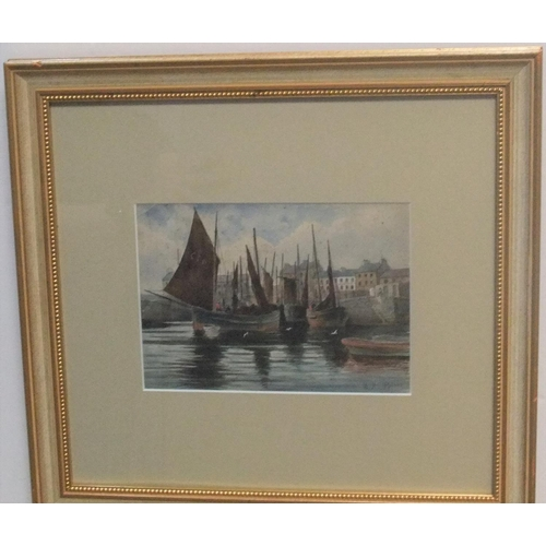 588 - Indistinctly signed, early 20thC watercolour, Harbour, Port St Mary, Isle of Man, signed, framed  17...