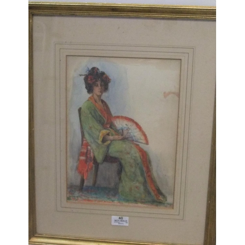 810 - Early 20thC watercolour portrait of a seated lady in a kimono, initialled W.A.B, framed and glazed  ...
