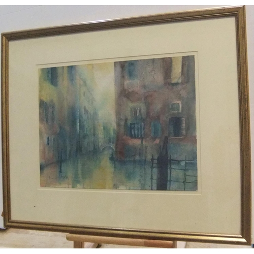 736 - Indistinctly signed 1989 impressionist watercolour