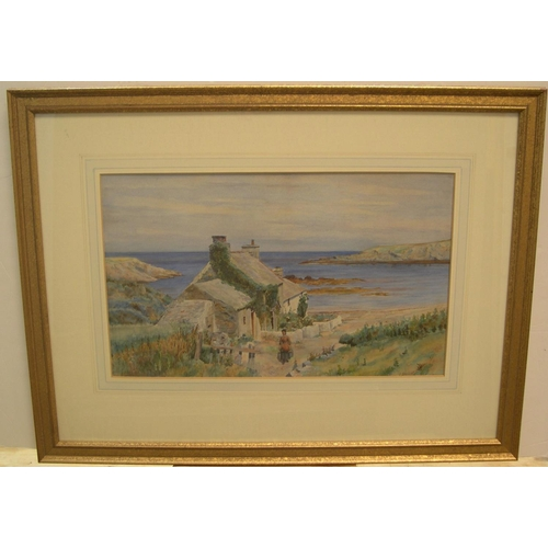 656 - Signed under mount, early 20thC watercolour, Lady outside coastal cottage, framed and glazed  28 x 4...