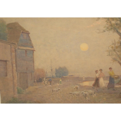 659 - Walter G. SCHRODER (act.1885-1932) watercolour, children and lambs before country cottage, framed an...