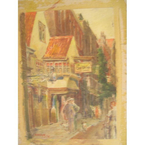 597 - Collection of 5 20thC unframed pictures, 4 watercolours & 1 pastel by differing artists including C ...