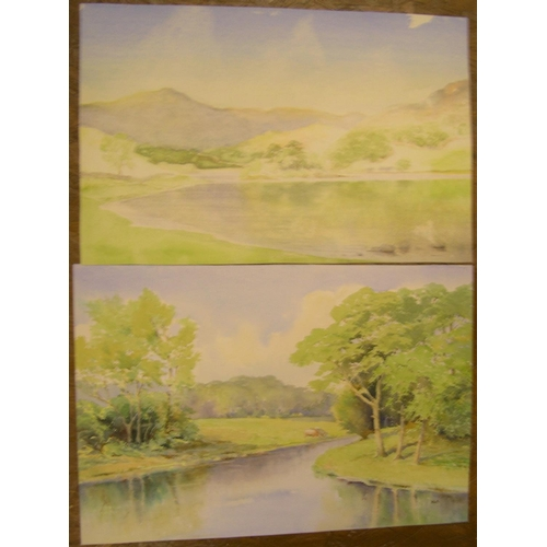 599 - R Hughes of Chester, 14 unframed, watercolours, mainly Lake district landscapes, all unframed  The s...