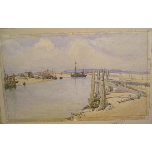 603 - Estuary scene near Rye watercolour, initialled & AB 1921, unframed  28 x 48 cm  Sporadic, light foxi...