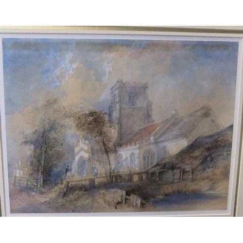 626 - Thomas R. Colman DIBDIN (1810-1893), 1853 watercolour of a Norfolk church, signed & dated in origina...