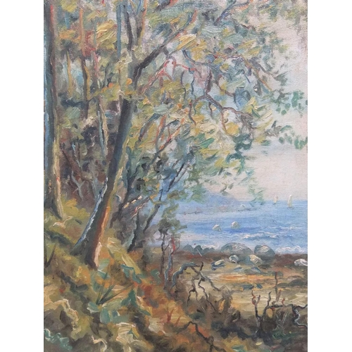 820 - Early 20thC impasto oil on canvas, coastal scene, initialled & dated