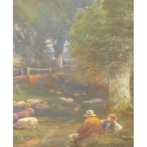 695 - Ernest Gabriel MITCHELL (1859-1928), large watercolour, farmers & flock in woodland, signed and in o...