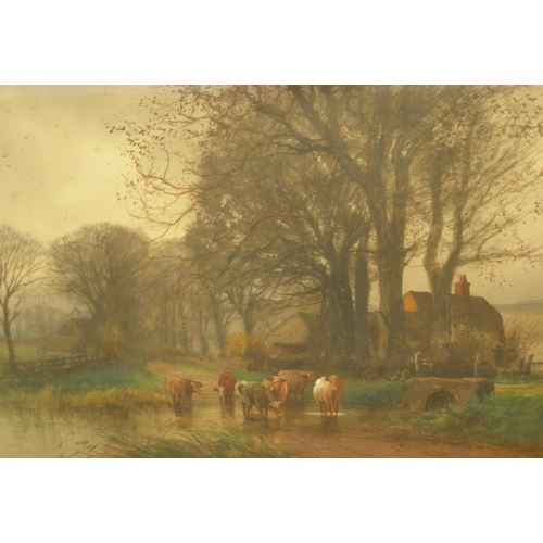 663 - Henry Charles FOX (c1860-1929) 1913 watercolour, cattle at ford crossing, signed & dated, modern fra...