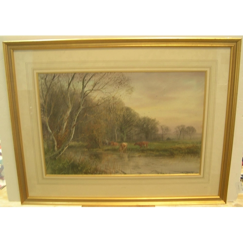 664 - Henry Charles FOX (c1860-1929) 1916 watercolour, Cattle watering, signed & dated, framed, mounted & ...