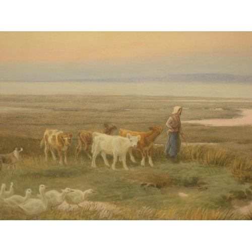 666 - George CROZIER (?-1915) watercolour, leading the Calves home at the end of the day, signed, modern m...