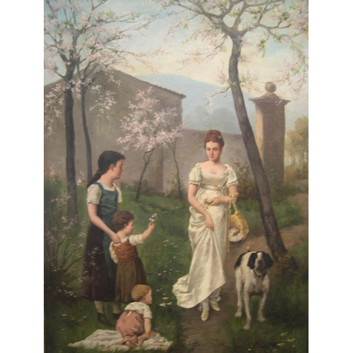 751 - Large French oil on canvas, c1900