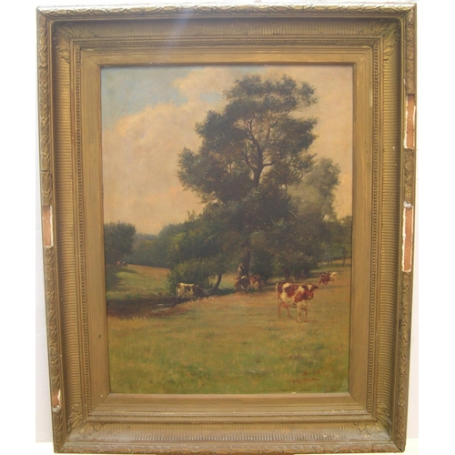 894 - Large, c1900, indistinctly signed oil on canvas,