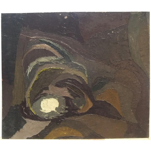 674 - Penelope Tucker 1975 exhibited modernist oil on board, The hole, unframed,  71 x 85 cm  Fine and cle...