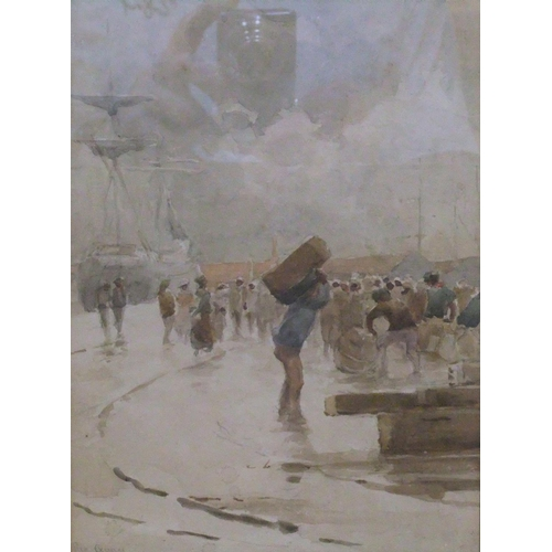 679 - 2 small antique watercolours, Dock scenes, 1 by Champion JONES (1856-1912), the other by Arthur SEVE...