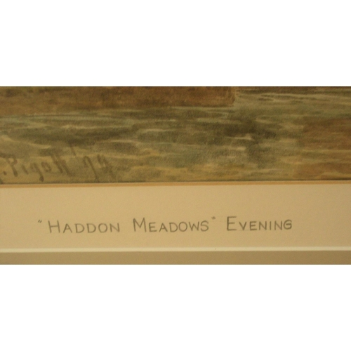 835 - William Henry PIGOTT (1835-1901) 1894 watercolour, Evening in Haddon Meadows, signed, modern thin fr...