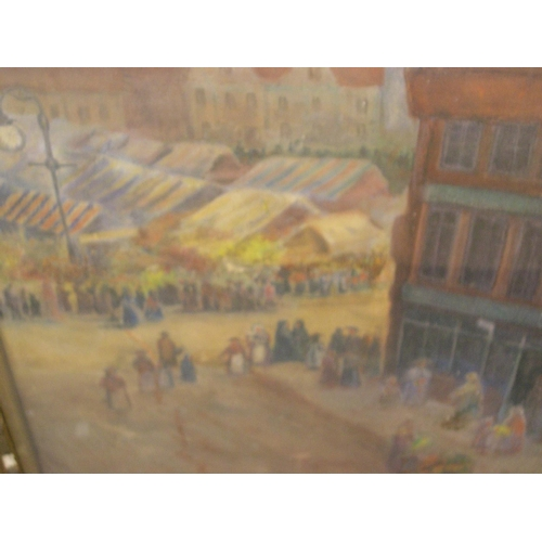 840 - Large, unsigned watercolour, c1900, Ariel view towards a market scene in a town