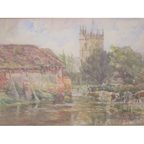 754 - Fran Whitehead (c1900) impressionist watercolour, Cows outside a village, signed, framed, mounted an...