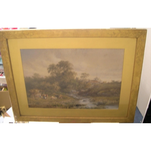 755 - Large indistinctly signed 1888 watercolour, Extensive English country landscape, signed & dated, ori...