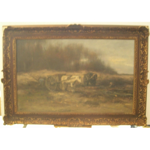756 - Large antique oil on canvas,