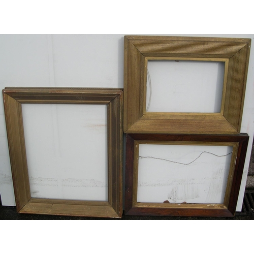 556 - 3 old frames, 1 rosewood, the other 2 gesso  Internal measurements are - 51 x 41 cm, 33 x 44 cm & 34...