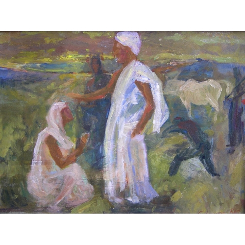687 - Indistinctly signed (under mount), mid-late 20thC oil on board,